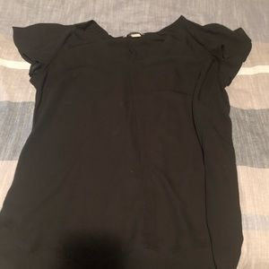 Black H&M blouse with flutter sleeve